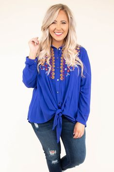 Loose Ends Top, Royal Blue