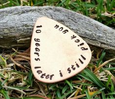 10 year anniversary Guitar Pick - gift for him 10 years later I still pick you 10th anniversary handstamped gift for husband boyfriend by TiffysLove on Etsy