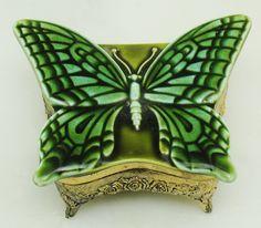VTG Glazed Ceramic Green Butterfly Moth Ornate Metal Ormolu JAPAN Trinket Jewelry Box Vanity Dresser Accessory Gold Tone Red Velvet by eclecticka on Etsy