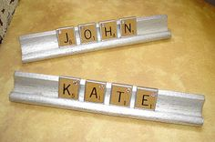 Recycled Scrabble Game Pieces - Spray Paint the Holders and Use Letters for Scrabble Place Cards