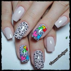 So why not dress up your nails with cute nail art too? Here are some easy-to-do nail art ideas for Valentine's Day. Animal Nail Designs, Crazy Nail Designs, Heart Nail Designs, Fall Nail Designs, Boxing Day, Great Nails, Fun Nails, Color Block Nails, Wide Nails