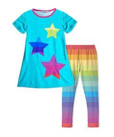 Sunshine Swing Turquoise & Rainbow Stripe Tunic & Legging | zulily