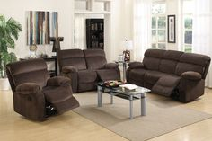 Poundex 2 Pcs Motion Sofa and Loveseat Set F6785