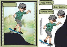 lovely Skateboarder boy  on Craftsuprint designed by Ceredwyn Macrae - A lovely card to make and give to any boy on his birthday Lovely Skateboarder boy a lovely card has three greeting tags and a blank one for you to choose the sentiment,  - Now available for download!