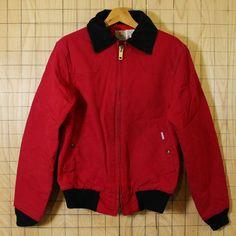 【carhartt】USA製70's古着レッド(赤)ダック裏地中綿キルティングワークジャケット・ブルゾン|メンズSサイズ