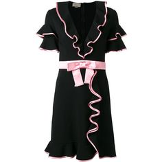 Gucci Ruffle Bow Dress (3,605 CAD) ❤ liked on Polyvore featuring dresses, clothing /, kirna zabete, flutter sleeve dress, bow dress, flutter-sleeve dress, sleeve cocktail dress and gucci dress