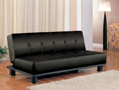 Futon CS300163 Description : This stylish contemporary black faux leather sofa bed will be a nice addition to your home. Make the most of valuable space in a condo, apartment, or spare bedroom with this chic armless styled sofa. A plush modern tufted back cushion and deep seat cushion will keep you comfortable by day. Easily drop the back cushion, converting to a bed for overnight guests. With a hardwood frame, and metal and spring base, this beautiful sofa will offer long lasting support in…