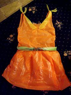 plastic bag dress.