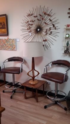 """Starburst by Jere', MCM Samsonite Bar Stools, """"Moderna"""" by Espino Arte, MCM Structural Lamp and Perception table by Lane ... all available at Mod Makes It!, 303-990-5893 $$$OLD$$$"""