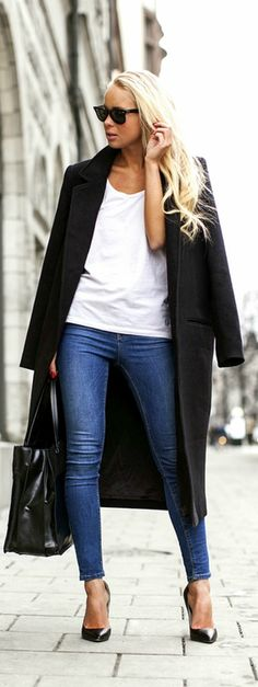 Todays Outfit / Victoria , seriously this is my style everyday :) love white teas with jeans and jacket