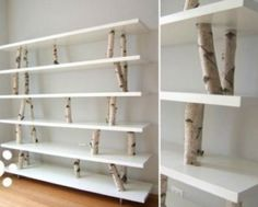 12 Unique DIY Projects Featuring Birch Wood Birch branches as supports for shelves. (I should really probably start to worry about how many times I pin lovely bookshelves, right? Home Goods Decor, Diy Home Decor, Rama Seca, Birch Branches, Birch Logs, Birch Trees, Birch Bark, Wood Tree, Birch Tree Decor