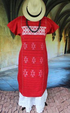Red & White Huipil Mixe Cotzocon weavers Oaxaca Mexico Boho Hippie Santa Fe…