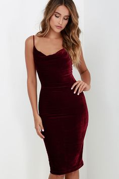 The Jazzy Belle Burgundy Velvet Dress is worthy of a catwalk and a crowd