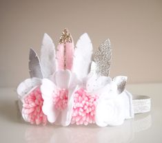 Felt feather crown pastel pink and white with silver