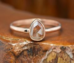 Natural Red Diamond 14k Rose Gold Engagement Ring