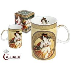 Classic Porcelain Mug decorated with Mucha paintings
