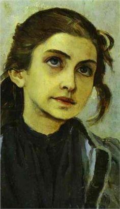 Artist: Mikhail Nesterov  Completion Date: c.1890  Style: Symbolism  Genre: portrait  Technique: oil  Material: panel  Gallery: State Russian Museum, St. Petersburg, Russia