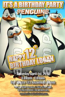 32 Best THE PENGUINS OF MADAGASCAR Birthday invitations, THE