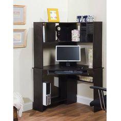 Morgan Corner Computer Desk and Hutch, Black Oak