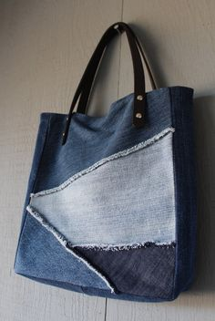 Denim Frayed Patch Slouchy Tote with Leather Straps, Two Interior Pockets and…
