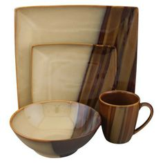 This set reminds me of wood grain. It conveys a great deal of masculinity - perfect for a gentleman's casual dinnerware.