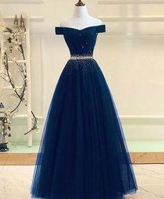 Gorgeous blue tulle prom dress, off shoulder evening gown for prom 2018 #prom #dress #promdress #weddingdresses