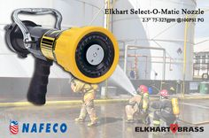 """Elkhart Select-O-Matic Nozzle, 2.5"""" 75-325gpm @100PSI PG: Pressure-regulating Select-O-Matic® nozzles automatically adjust to fluctuating water flow to maintain effective pressure and a consistent fire stream in all flow ranges. Our patented, completely unobstructed waterway allows more gpm at lower pressures than any competitive brand. All models flush easily without shutting down and provide constant flow on either fog or straight stream."""