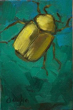 Golden Scarab Beetle  original oil painting by AngelaOoghe on Etsy,