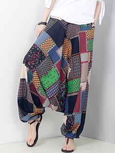 Vintage Printed Elastic Waist Pocket Harem Pants For Women - Newchic Mobile Thai Fashion, Diy Fashion, Fashion Outfits, Comfy Pants, Casual Pants, Harem Pants Fashion, Baggy Trousers, Hippie Pants, Chic Outfits