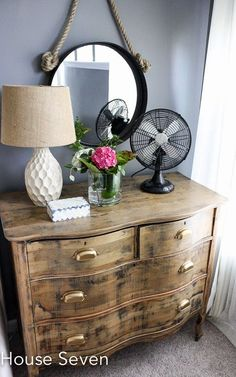 Dresser as nightstand - love the stripped down finish and brass cup pulls eclecticallyvintage.com