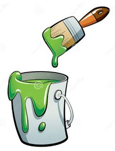 Illustration about Cartoon green color paint in a grey paint bucket , painting with a brown paint brush. Illustration of color, brown, creative - 30519645 Paint Buckets, Sketch Inspiration, School Decorations, Baby Cartoon, Art Party, Grey Paint, Background Patterns, Classroom Decor, Brown And Grey