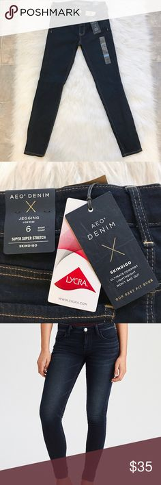 NWT American Eagle Outfitters size 6 short Jeggins Laid-back has never looked so good!  ▪️Size 6 (waist 14 inches laying flat) ▪️Short length (length 36 inches laying flat, 27 inch inseam laying flat) ▪️Low rise (9 inches from waist to inseam laying flat) ▪️Dark indigo wash                                                                        ▪️Super Stretch.                                                            ▪️Super Soft fabric gives you the comfort you want with the look of your…
