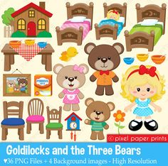Goldilocks & The Three Bears  Clipart and by pixelpaperprints, $6.75