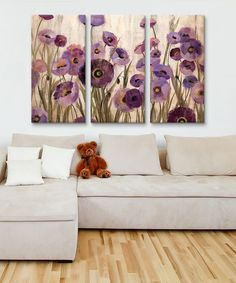 iCanvas Pink and Purple Flowers Canvas Triptych | zulily