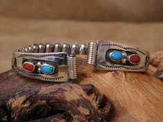 Coral Turquoise, Wire Earrings, Watch Bands, Turquoise Bracelet, Ms, Watches, Sterling Silver, Beautiful, Vintage