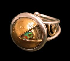 Observatory ring by Victoria Lansford - the dome rotates, revealing only a… Opal Jewelry, Jewelry Art, Sterling Silver Jewelry, Jewelry Rings, Jewelery, Jewelry Design, Cute Rings, Love Ring, Enamels