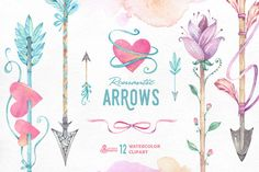 Romantic Arrows watercolor by OctopusArtis on Creative Market