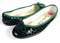 $200 LONDON SOLE 38 GREEN PATENT LEATHER CROC BALLET FLATS *EXCELLENT* SIZE 7.5 #LondonSole #BalletFlats