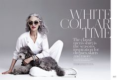 Ageless beauty. At 65, Linda Rodin rocks the classic white look with incredible silver hair for FASHION Magazine by Gabor Jurina