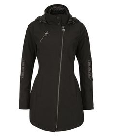 Quilted Hood Soft Shell Coat, Black