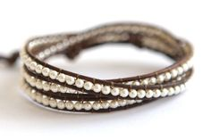Classic Small White Pearl and Leather Triple Wrap Bracelet with Fine Silver Handmade Button