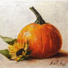 Hey, I found this really awesome Etsy listing at https://www.etsy.com/listing/482443473/pumpkin-and-sunflower-still-life