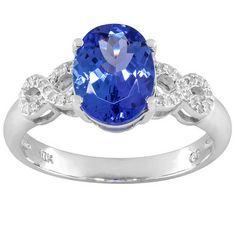 1.90ct Oval Blue Tanzanite With .10ctw Round White Diamonds 10k White Gold Ring