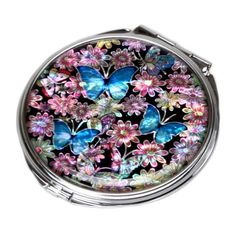 Mother of Pearl Blue Butterfly Design Double Compact Makeup Cosmetic Personal Ha #AntiqueAlive