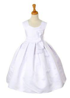 White Elegant Dull Satin Girl Dress