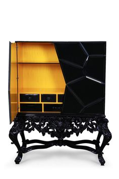 In case you were wondering if Buffets and Cabinets were ever going to think about those who love some spooky vibes, these modern black cabinets are for you! Industrial Design Furniture, Luxury Furniture, Furniture Design, Eclectic Furniture, Black Furniture, Interior Design Trends, Interior Decorating, Modern Buffet, Luxury Bar
