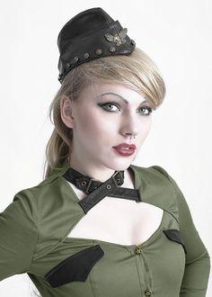 Calot chapeau militaire noire pin-up gothique officier steampunk > JAPAN ATTITUDE - PUNKR0068   Shop : www.japanattitude.fr