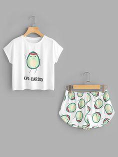 T-Shirt mit Muster von Karikatur Avocado und Shorts Set - German SheIn(Sheinside)