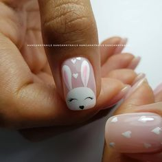 The advantage of the gel is that it allows you to enjoy your French manicure for a long time. There are four different ways to make a French manicure on gel nails. Easter Nail Designs, Easter Nail Art, Nail Art Designs, Cute Nails, Pretty Nails, Nailart, Bunny Nails, Halloween Nail Art, Nail Decorations