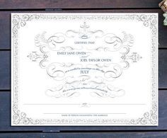 Ornate Marriage Certificate
